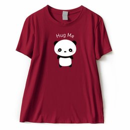 women panda tee NZ - Panda T shirt Female 2018 Hug Me Leers Short Sleeve 100% Coon Women T-shirt Top Quality Fashion Casual Tee Shirt Femme