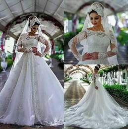 puffy winter wedding dresses NZ - 2018 Arabic Wedding Dresses Long Sleeves Off Shoulder Bateau Tiered Lace Appliques Court Train Puffy Plus Size Bridal Gowns