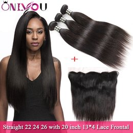 promotion brazilian virgin hair 2019 - Wholesale 9a Brazilian Straight Bundles with Closure Hair Promotion 22 24 26 with 20 Lace Frontal Unprocessed Top Qualit