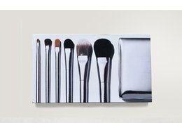 Holiday Hair Australia - 6piece Deluxe Silver Travel Brush Set With Bag Case Horse Hair Party Twilight Metalized Makeup Brush Set Holiday Collection DHL