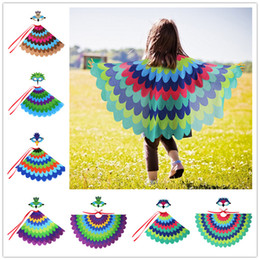 Wholesale Kids peacock cape pc set felt eye mask chiffon cloak kids birds cosplay clothing boys girls holloween performance party costume props