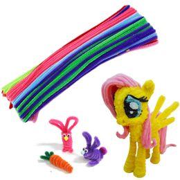 Kids Craft Materials UK - Hot! 100pcs DIY Kids Child Plush Sticks Handmade Educational Shilly Stick Plush Materials Toys Art Toy Handmade Art And Craft