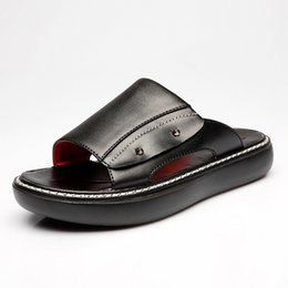 $enCountryForm.capitalKeyWord UK - Full Grain Leather Striped Sandal and Slipper with Rubbery Sole Home Slippers High Quality Men Shoes Home Floor Shoes