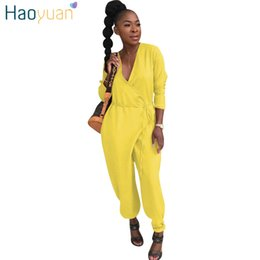 ec99862a151 HAOYUAN Plus Size Rompers Womens Jumpsuit One Piece Harem Long Pants  Overalls Sexy V-Neck Pocket Casual Bandage Loose Jumpsuits
