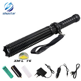 Discount self defense rechargeable flashlight - T6 LED Mace Flashlight Self-defense Toothed Mace 4500LM Torch Lights 5 Mode Outdoor Patrol Rechargeable Flashlights