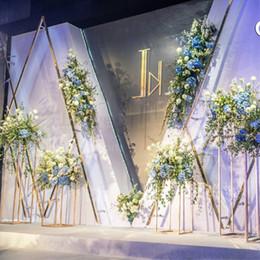 Ingrosso 4 PZ Pavimento Vasi Fiori Vaso Colonna Stand Metallo Pilastro Strada Lead Centrotavola centrotavola Decorazione festa di Natale