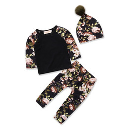 Floral Print Shirts Baby Australia - Baby Girl Clothing set Toddlers Clothes Floral Print Tops T-shirt + Long pants + hat kids cotton Leisure clothes Suit Three-piece outfit