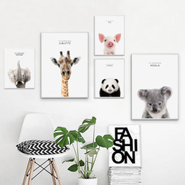 Discount zebra print canvas wall art - Giraffe Zebra Lion Elephant Animal Posters and Prints Canvas Art Painting Wall Art Nursery Decorative Picture Nordic Sty