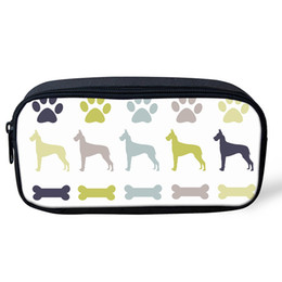 Wholesale Bull Terrier Dog Print Pencil Case Large Capacity Canvas Pen Box Boy Girl Students Gifts Stationery School Supplies Cosmetic Bag