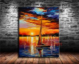 painting seascape boat Australia - Sailing Boat In The Sunset , Canvas Pieces Home Decor HD Printed Modern Art Painting on Canvas (Unframed Framed)