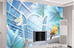 Small Mould NZ - living walls wallpaper living room wall murals Nordic small fresh and simple sky window view 3d three-dimensional relief wall