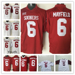 Mens Youth Oklahoma Sooners  6 Baker Mayfield Red White Limited 2018 NCAA  Rose Bowl Patch Stitched Kid College Football Championship Jerseys 28ab2fb7c