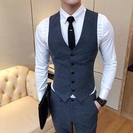 Discount suits wine color - 2018 New Pure Color Men's Suit Vests Fashion Casual Waistcoat Men Wine Red Dark Gray Khaki Light Gray Card Green Si