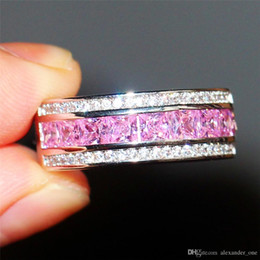 Gold Pink Rings For Women Australia - Fashion 10KT white gold Ring Pink Sapphire Gem CZ Side Stone Band Elvis Presley's Aloha Concert Ring For Women Cocktail