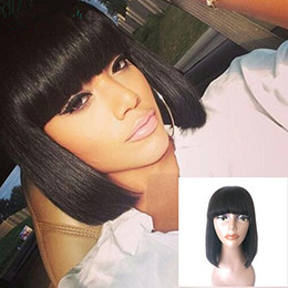 straight bangs wig Australia - Human Hair Bob Wigs with Bangs Brazilian straight Glueless 360 lace frontal wigs pre plucked 180%density bob blunt cut
