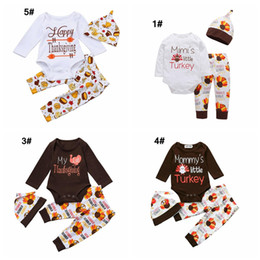 $enCountryForm.capitalKeyWord NZ - babies Thanksgiving day clothing set newborn baby girl boy holidays dress up with turkey Pumpkin printed outfits suits romper+pants+caps