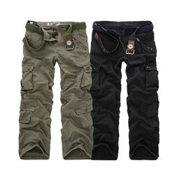 2ea950b7f09 Casual Training Plus Size Cotton Breathable Multi Pocket Military Army  Camouflage Cargo Pants Outdoor Fashion Men s Trousers WITHOUT Belt