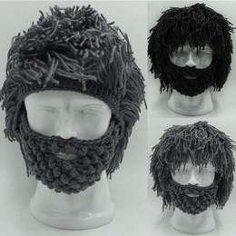 Crochet Ski Mask Australia - Winter Crochet Mustache Hat Beard Beanies Handmade Knitted Men Face Tassel Bicycle Mask Ski Warm Cap Funny Hat Gift TO984