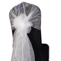 $enCountryForm.capitalKeyWord UK - Wholesale 65*275CM Fancy Cheap Snow Organza Wedding Chair Hoods Chair Caps Chair Back Ties Sashes for Wedding Decoration
