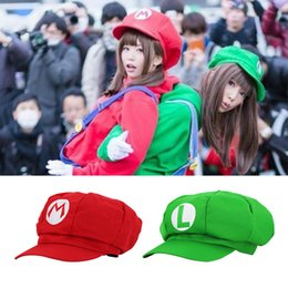 Cosplay Mario Red Australia - Anime Super Mario Bros Hat Cap Luigi Bros Cosplay Props Baseball Costume Japanese Game Red Wario Green Women's Hat Cute Girl Cap