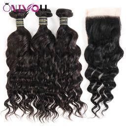 China Brazilian Water Weave Natural Wave Virgin Human Hair Weave Bundles and Closure Remy Human Hair Bundles Wholesale Hot Sale Items Wholesale cheap human hair bundle sales suppliers