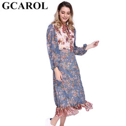 ruffled bottom dresses NZ - GCAROL 2018 New Collection Fall Winter Floral Spliced Chiffon Dress Full Sleeve High Waisted A-Line Ruffles Bottom Long Dress