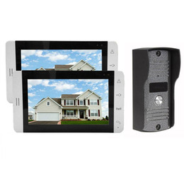 Discount video lcd screen - Home Wired 7 inch Color LCD Touch Video Doorphone Intercom System   Set With 2 White Screen Door IR 700TVL Cameras