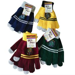 $enCountryForm.capitalKeyWord NZ - Harry Potter Touch Screen Gloves With Tags Ravenclaw Gryffindor Slytherin Hufflepuff Knitted Finger Gloves Halloween Christmas Cosplay New