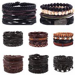 StyliSh men bracelet online shopping - New Vintage Handmade Stylish Leather Braided Hemp Bracelets for Men Women Stylish Leather Wristband Cord Combined bracelets Jewelry Gifts