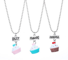 free best friend necklaces 2019 - New Arrive Best Friends BFF Resin Love Heart Cake Pendant Bead Chain Necklace Lead Nickel Cadmium Free Girl Jewelry 5set