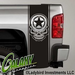 Chevy Wholesale Australia - For Universal 1Set 2Pcs Army Star Skull Military Decal (#2) Truck Bed Stripes x2 - Ram Chevy Ford
