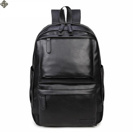 Chinese  NEW Fashion Style Leather Men Black Backpack Fashion Famous Brand Male Casual Boys School Shoulder bags for Men's Backpack manufacturers