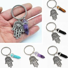 pillar plates wholesale 2019 - Natural crystal pendant hexagonal ring key ring evil eye palm key chain pendant zinc alloy pendant length 3*4.4cm weight