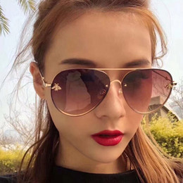 e3a50cd4304 Oversized Pilot Sunglasses Women Brand Designer 2018 Rimless Clear Bee Sun  Glasses Vintage Tinted Eyewear Female Avaitor Shades