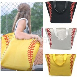 wholesaler footballs Canada - 10Colors Women Canvas Handbags Softball Tote Bags Baseball Bag Football Bags Soccer Ball Bag with Hasps Sports Shoulder Bag