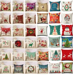 Deer pillow cases online shopping - 36 design High Quality cm Pillow Case Christmas Decorations For Home Santa Clause Christmas Deer Cotton Linen Cushion Cover Home Decor