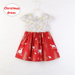 12d593c18 Winter Party Dresses For Baby Girl Canada - Christmas Girls short sleeve dress  Baby Deer print