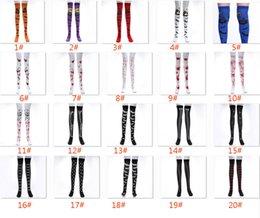 cosplay flags 2019 - Women Halloween Cosplay Stocking Sock For Bat Bloody Skull Flag Festival Masquerade Costume Leggings Long Socks 30 Desig