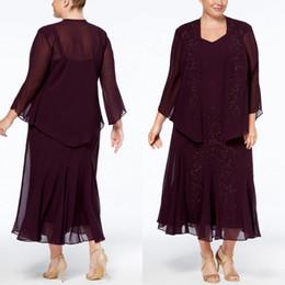 Plus Size Wedding Dresses Dark Purple Australia - Dark Purple Plus Size 2019 Mother Of The Bride Dresses With Jacket Formal Wedding Guest Dress Beaded Tea Length Mothers Groom Dresses