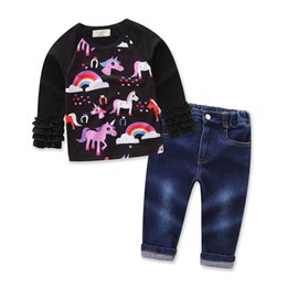 Discount new girls t shirt INS Hot New Girls Unicorn Cartoon Sets 2Pcs Sets Long Sleeve Tops T Shirt+Denim Pants Set Outfits Animal Printed Baby Cl