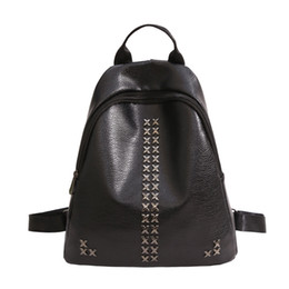 f7a504d27e34 Bags for Women 2018 Backpack for Teenagers Girls Black Vintage Stylish  Rivet School Bag Ladies PU Leather Femalbag
