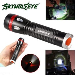 self defense flashlight t6 UK - 2018 Rushed Sale Led Flashlights Self Defense Skywolfeye 3 Modes 3000lm Cree Xml T6 Led 18650 Outdoor Flashlight Torch Lamp Light Vem86 P20