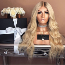 Blonde hair Black roots online shopping - Blonde Ombre Synthetic Wig Dark Root Heat Resistan Fiber Hair High Quality Long Wavy Glueless Synthetic None Lace Wigs For Black Women