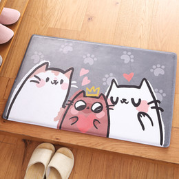carpet oval NZ - 3 Sizes Cats Drawing Mat For Bathroom Kitchen Wash-basin Toilet Rug For Floor Bedroom Living Room Carpet Anti-Slip Absorbent