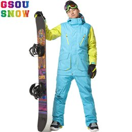 Winter Snow Suits Australia - Gsou Snow Professional Ski Suits Men Snowboard Jackets Winter Ski Pant Waterproof Breathable Mountain Skiing Snowboarding Sets