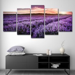 oil field art 2019 - Canvas Pictures Home Decor 5 Pieces Sunset Purple Lavender Field Flowers Paintings Prints Poster Living Room Wall Art ch