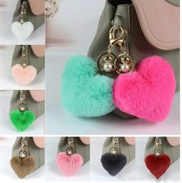 Wholesale New rabbit ball heart shaped pendant fur fashion bag wool ball keychain mobile phone accessories and ornaments