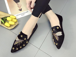 Discount flat shoes korean styles - 2018 summer and autumn, new style, pointed and frosted suede, low and South Korean casual comfortable, flat sole shoes,