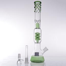 2016 Yeni yeşil cam su boruları Lavanta cam bong cesaret bongs Spiral filtrasyonİki fonksiyonları 18.8mm cam kase kubbe tırnak nargile indirimde