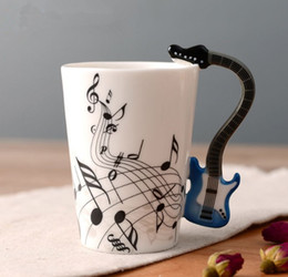 music bass guitar Canada - 6 Colors Guitar Bass Music Cup Ceramic Handgrip Coffee Mugs Music Lovers Milk Tea Water Cups Bottle Novelty Gifts